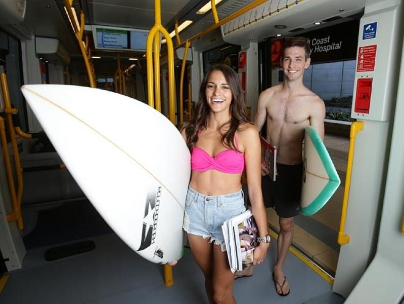 Passengers on Gold Coast Light Rail (Custom)